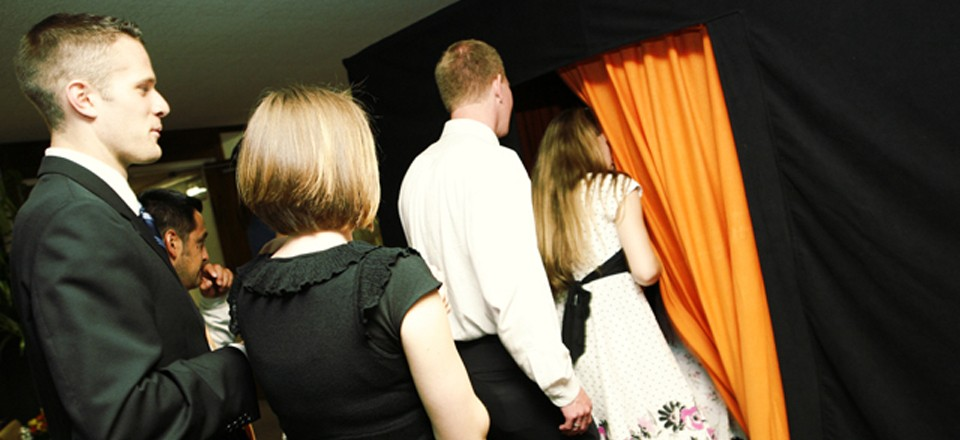 Photo Booth at a Wedding Reception