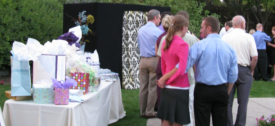 Photo Booth at an Outdoor Wedding Reception