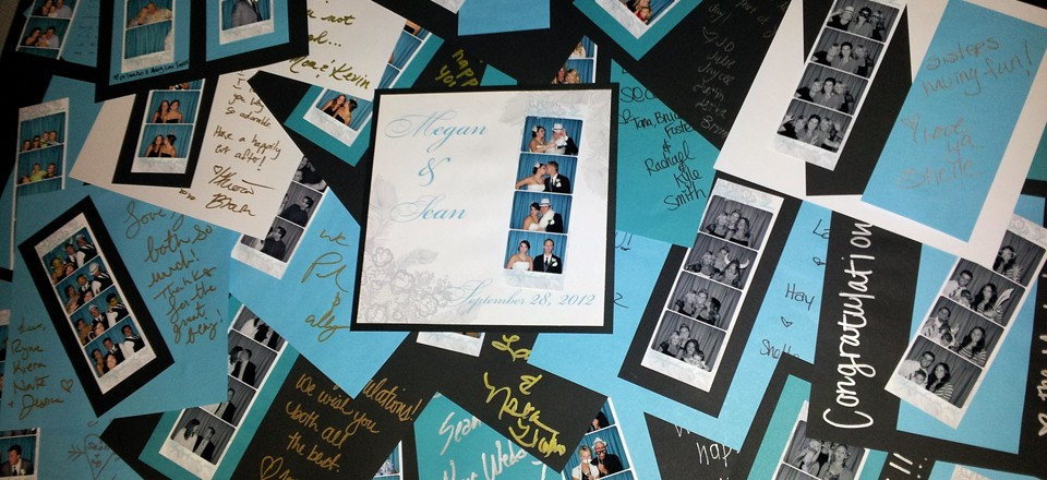 Photo Booth Scrapbook Pages at a Wedding Reception